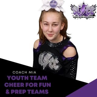 Mia - Coach for Youth team, Cheer for Fun & Prep teams