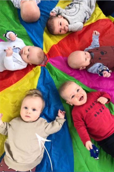 Babies smiling enjoying a fun session at Gym Babies