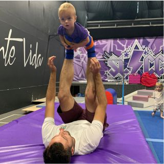 Parent with toddler enjoying a toddler tumble session